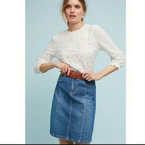 NWT Anthro Pilcro and the Letterpress Denim Skirt